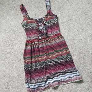 MultiColor Ruffle Front Dress